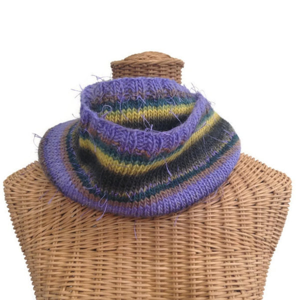 Infinity Striped Scarf Wool Violet Brown Green - Buttermilk Cottage - 3