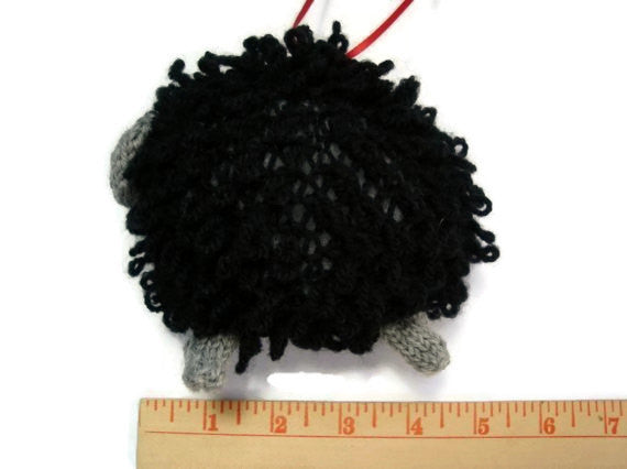 "Hand Knit Sheep Ornament ""Baa Baa, the Black Sheep"" - Buttermilk Cottage - 2"