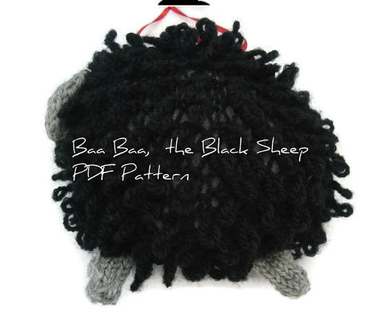 "Hand Knit Sheep Ornament ""Baa Baa, the Black Sheep"" - Buttermilk Cottage - 4"