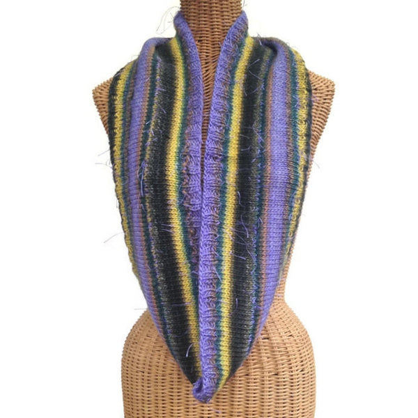 Infinity Striped Scarf Wool Violet Brown Green - Buttermilk Cottage - 1