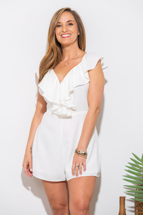 What Makes You Happy White Ruffle Romper