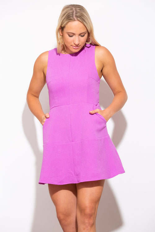 The Perfect Catch Purple Fit And Flare Dress