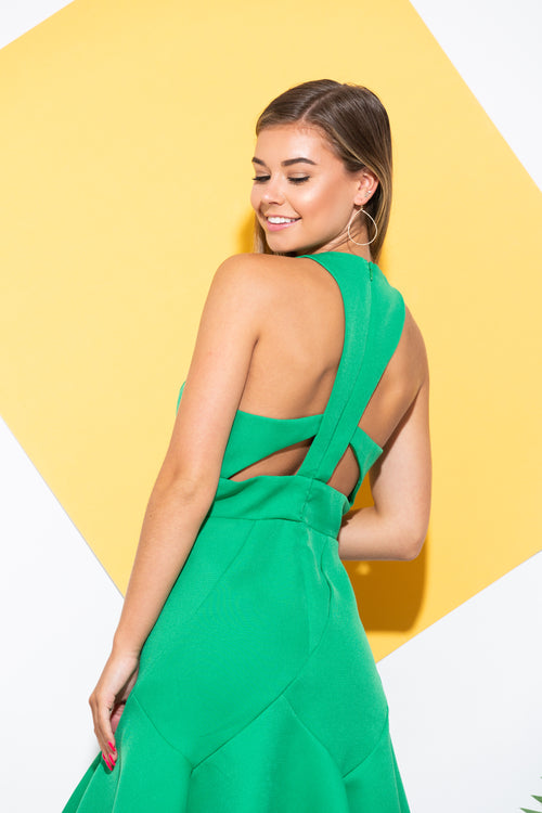 Don't Look Away Green Cocktail Dress - impromptu boutique