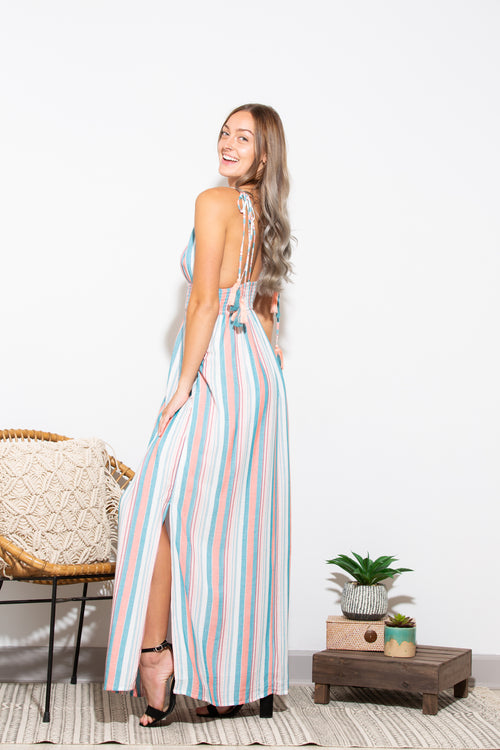 Time Stands Still Stripe Maxi Dress