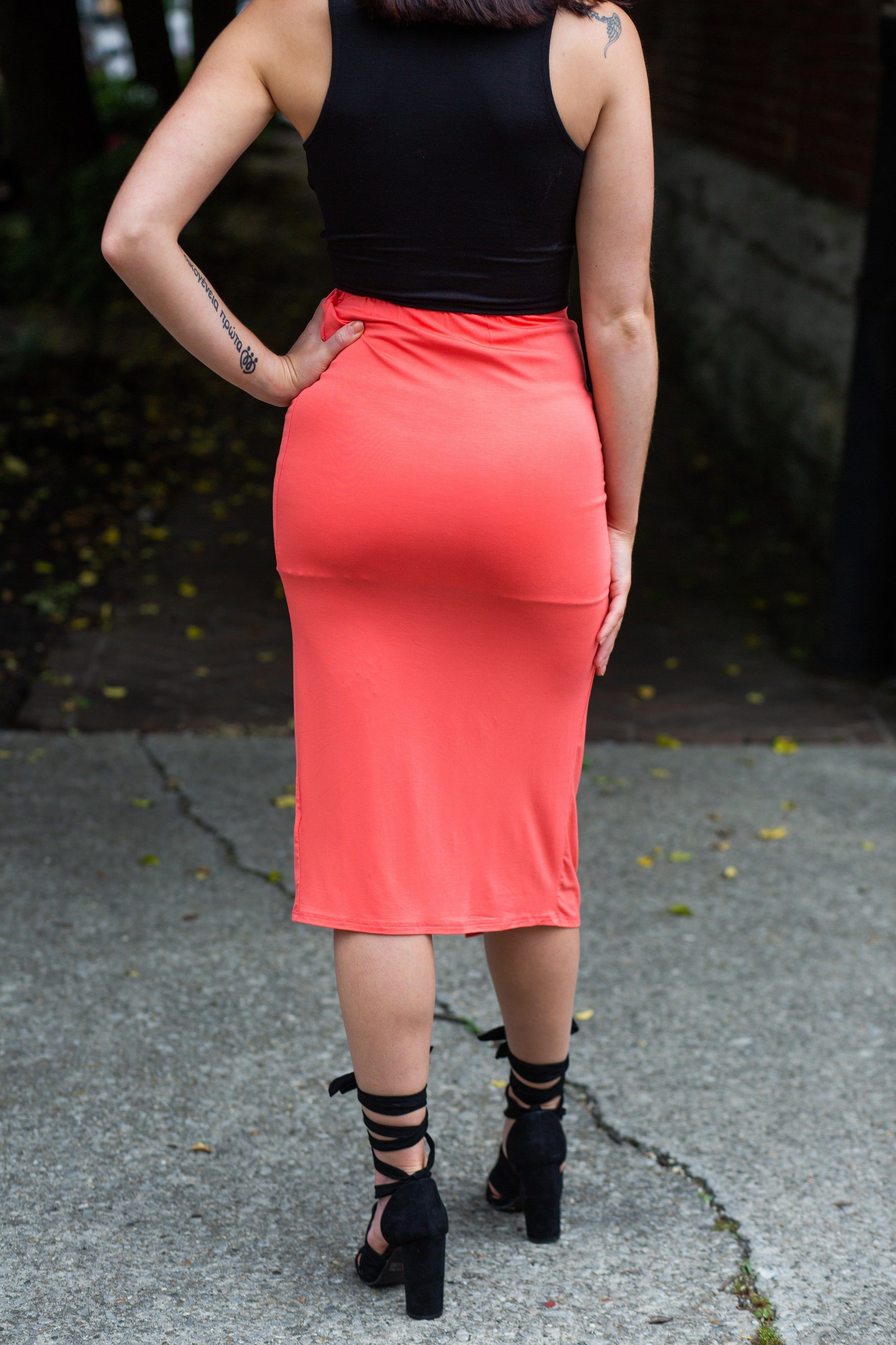 In For a Good Time Coral Wrap Skirt - impromptu boutique