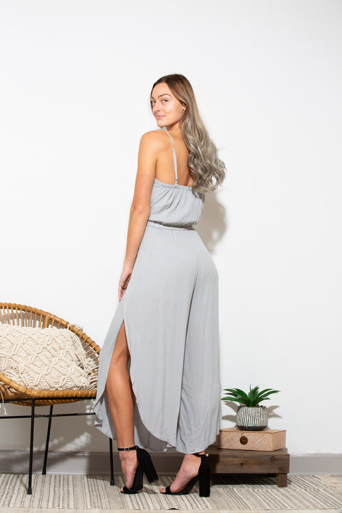 More Than Friends Grey Jumpsuit