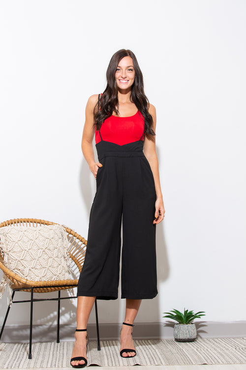 Remember The Name Black Crop Suspender Jumpsuit