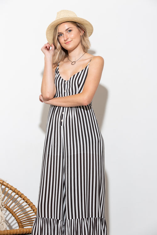 True Love Black And White Stripe Jumpsuit