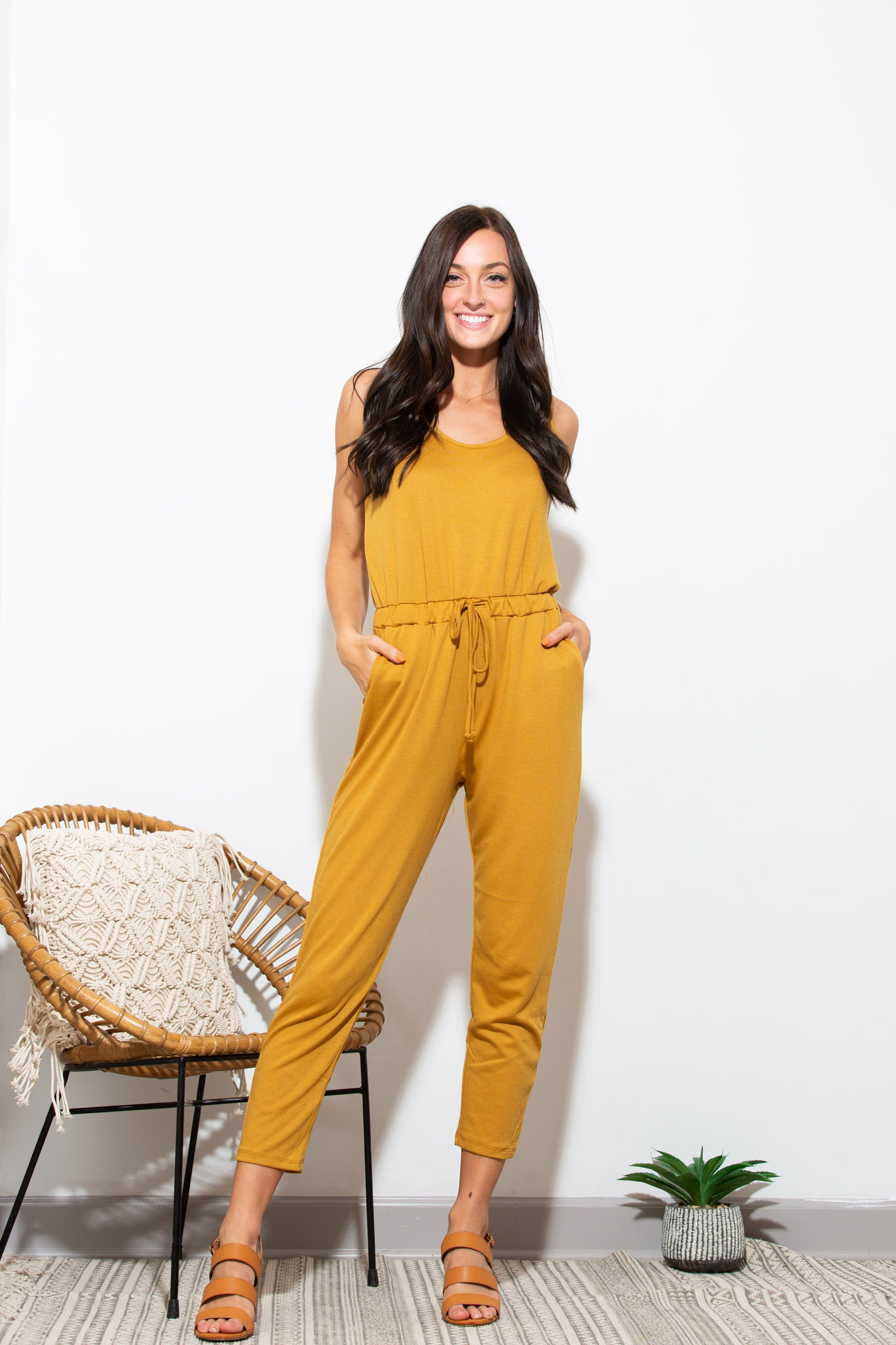 Everything About You Mustard Jumpsuit