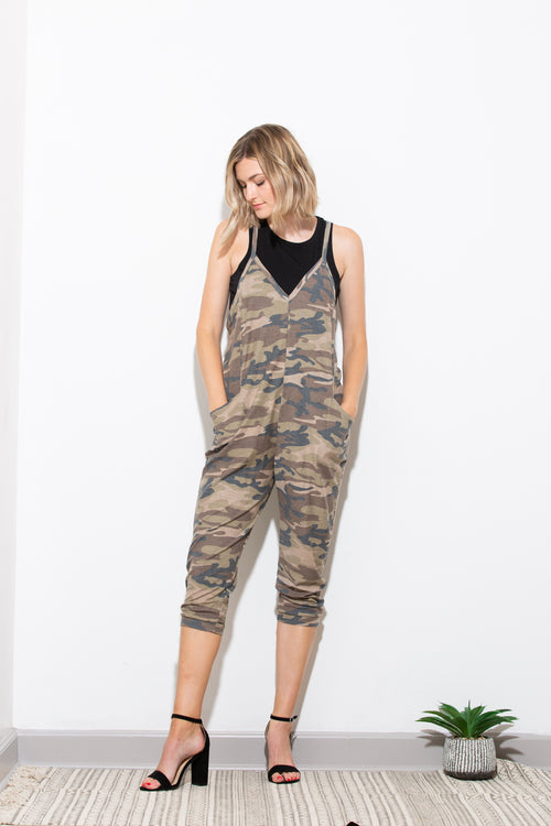 Meet Half Way Camo French Terry Jumpsuit