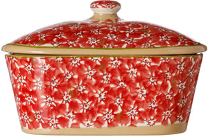 Covered Butterdish Lawn Red Nicholas Mosse Pottery handcrafted spongeware