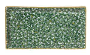 Large Rectangle Plate Lawn Green spongeware pottery by Nicholas Mosse Pottery - Ireland - Handmade Irish Craft.
