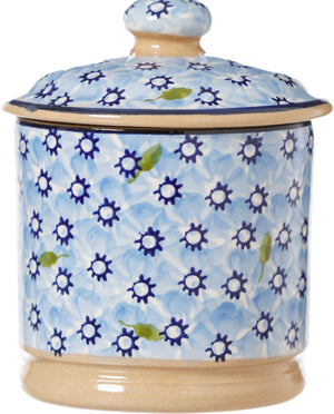 Lidded Sugar Bowl Lawn Light Blue Nicholas Mosse Pottery handcrafted spongeware