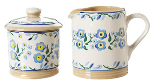 Lidded Sugar Bowl and Small Cylinder Jug Forget Me Not by Nicholas Mosse Pottery - Ireland - Handmade Irish Craft