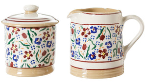 Lidded Sugar Bowl and Small Cylinder Jug Wild Flower Meadow by Nicholas Mosse Pottery - Ireland - Handmade Irish Craft