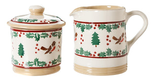 Lidded Sugar Bowl and Small Cylinder Jug Winter Robin by Nicholas Mosse Pottery - Ireland - Handmade Irish Craft
