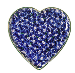 Medium Heart Plate Lawn Dark Blue Nicholas Mosse Pottery handcrafted spongeware Ireland