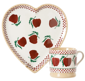 Medium Heart Plate and Small Mug Apple by Nicholas Mosse Pottery - Ireland - Handmade Irish Craft