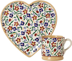 Medium Heart Plate and Small Mug Wild Flower Meadow Nicholas Mosse Pottery handcrafted spongeware Ireland