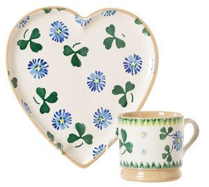 Medium Heart Plate and Small Mug by Nicholas Mosse Pottery - Ireland Handmade Irish Craft