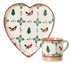 Medium Heart Plate and Small Mug Winter Robin