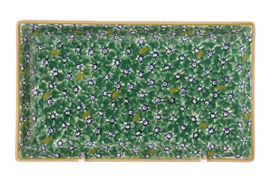 Medium Rectangle Plate Lawn Green spongeware pottery by Nicholas Mosse Pottery - Ireland - Handmade Irish Craft.