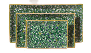 Nest of Rectangular Plates Lawn Green spongeware by Nicholas Mosse Pottery - Ireland - Handmade Irish Craft.