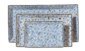 Nest of Rectangular Plates Lawn Pale Blue spongeware by Nicholas Mosse Pottery - Ireland - Handmade Irish Craft.