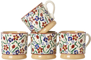 4 Small Mugs Wild Flower Meadow Nicholas Mosse Pottery handcrafted spongeware