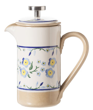 Small Cafetiere Coffee Pot Forget Me Not spongeware by Nicholas Mosse Pottery - Ireland - Handmade Irish Craft