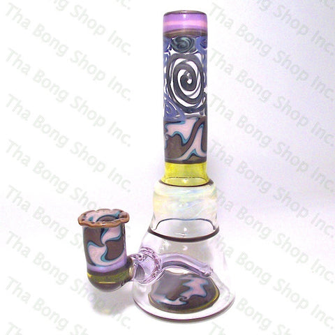 Gnosy Glass Blue Pink Brown Linework With Silver Fume And UV Sections Bangerhanger #Gfitting Mini Milker - Tha Bong Shop