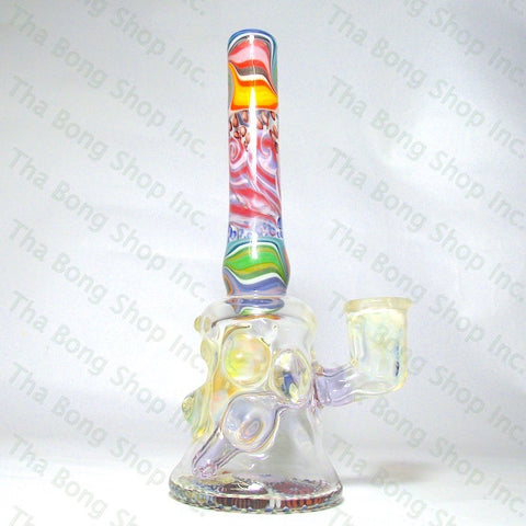 Gnosy Glass Rainbow Linework Reef Base fumed Can Bangerhanger #Gfitting Mini Milker - Tha Bong Shop