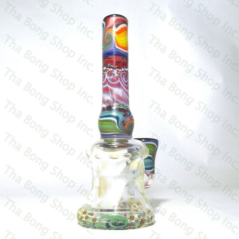 Gnosy Glass Rainbow Linework Flower Base  Bangerhanger #Gfitting Mini Milker - Tha Bong Shop