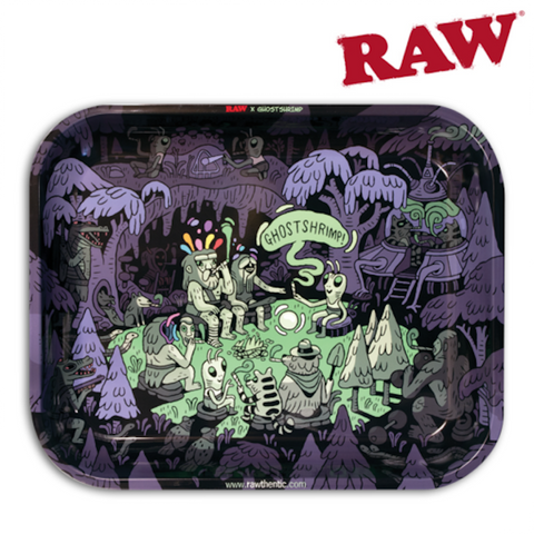 RAW ROLLING TRAY – ARTIST SERIES: GHOST SHRIM - Tha Bong Shop