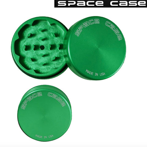 SMALL SPACE CASE GREEN MATTE 2 PIECE MAGNET GRINDER - Tha Bong Shop