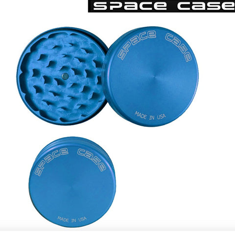 MEDIUM SPACE CASE BLUE MATTE  2 PIECE MAGNET GRINDER - Tha Bong Shop