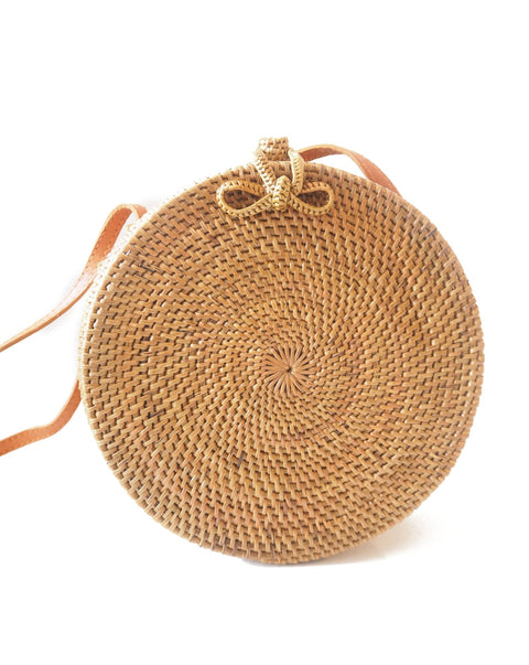 Round Rattan Bag with Bow in Natural