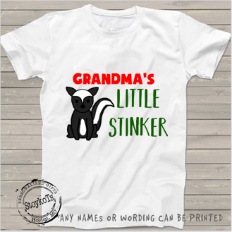 Grandma's little stinker, white, kids shirt