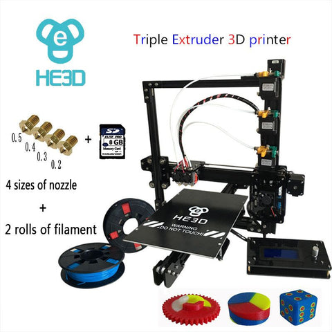 He3D 2017 Newest Prusa Ei3 3D Printer Kit with Triple Extruder - 3D Printer Universe