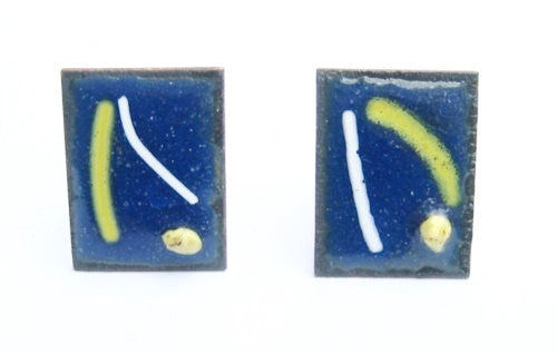 Modern Blue Enamel on Copper Cuff Links 1960's