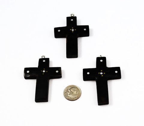 Black Horn Cross Pendant with silver inlay - Natural Buffalo Horn