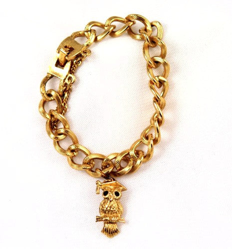 Monet Gold Plated Milano Chunky Charm Bracelet with Owl