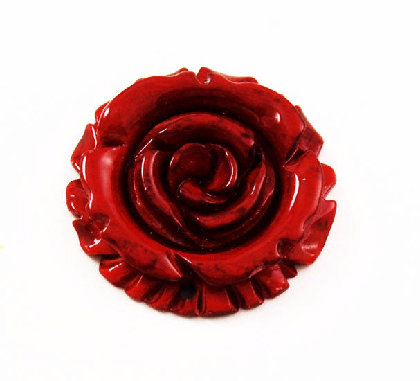 Carved Bone Red Rose Pendant