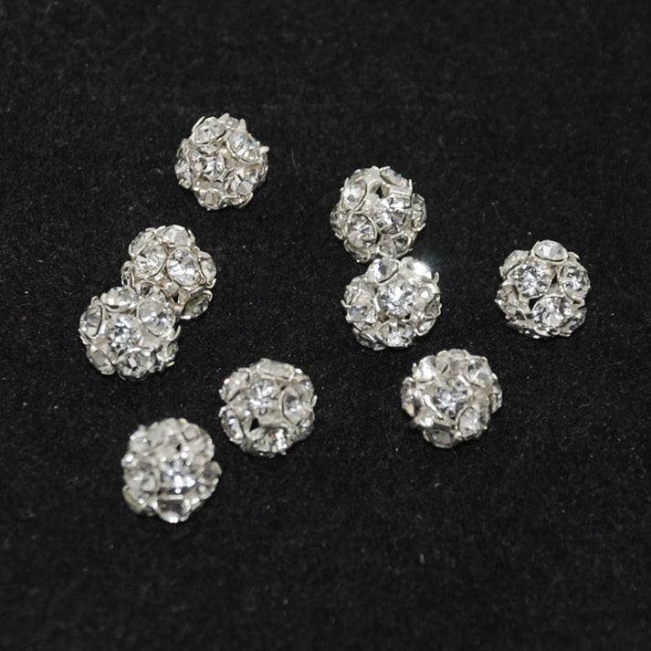 Silver Crystal AB Rhinestone Beads 8mm