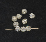 Silver Plated Full Crystal AB Rhinestone Balls 8mm