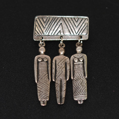 Silver Tribal Vintage Brooch