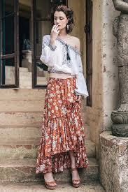 "Boho Maxi Ruffle Skirt ""Gypsy Dancer"" Maple Brown With Ivory Flowers Plus Size 2X or XXL Long Skirt"