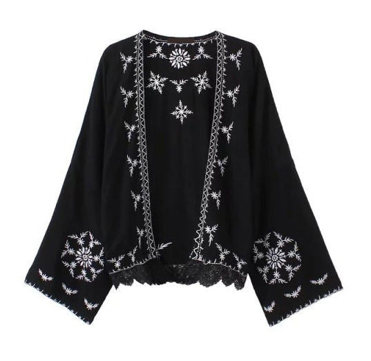 Boho Kimono Black With White Embroidery Lace Hem For Free Spirited People Size Small Medium Or Large