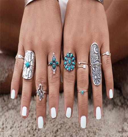 Boho Stacking Rings 9 Pc. Set Silver Turquoise Long Shield Cactus Arrows Gypsy Wanderer
