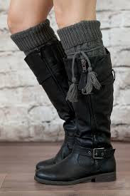 Alpine Boot Socks Charcoal Gray Thigh High Tie Top Tassels Thick Boho Diamond Cable Knit Slouch Or Fold Down Cuffs Over The Knee